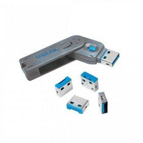 Blokada portów USB LogiLink, 1 klucz+ 4 zamki, szaro-niebieski
