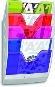 Zestaw naścienny CEP ReCaption, polistyren, 5 półek, A4, mix kolorów przezroczystych