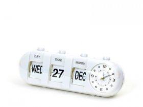 Zegar z budzikiem Platinet January, tarcza kolor biały, obudowa kolor biały