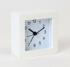 Zegar z budzikiem Platinet Plain, tarcza kolor biały, obudowa kolor biały