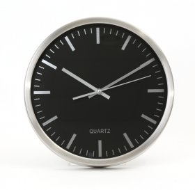 Zegar ścienny Platinet November, 30cm, tarcza kolor czarny, rama kolor srebrny