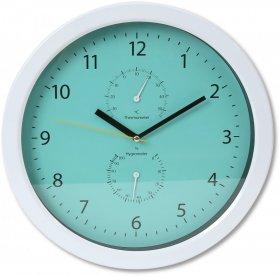 Zegar ścienny Platinet Summer, z termometrem i higrometrem, 30cm, tarcza kolor zielony, obudowa kolor biały