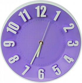 Zegar ścienny Platinet Today, 30.5cm, tarcza kolor fioletowy, obudowa kolor biały