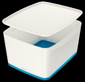 Pojemnik z pokrywką Leitz MyBox Wow,18l, biało-niebieski