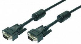 Kabel VGA 2x Ferryt LogiLink, 5m, czarny