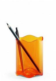 Pojemnik na długopisy Trend Durable, 80x102mm, tworzywo sztuczne, transparentny pomarańczowy