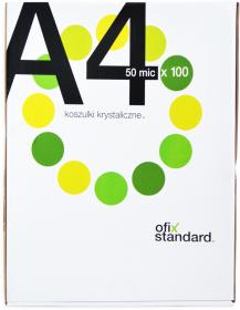 Koszulki krystaliczne Ofix Standard, A4, 50µm, w kartonie, 100 sztuk