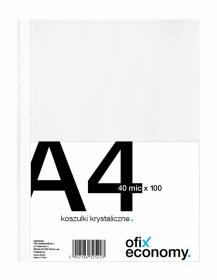 Koszulki krystaliczne Ofix Economy, A4, 40µm, 100 sztuk, transparentny