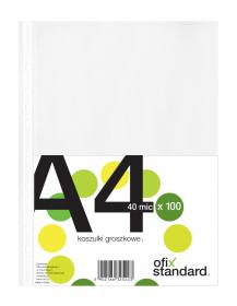 Koszulki groszkowe Ofix Standard, A4, 40µm, 100 sztuk, transparentny