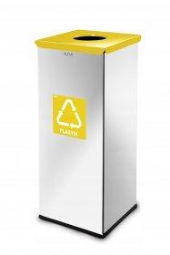 Kosz do segregacji odpadów Alda, Eko Square, plastik, 60l, srebrno-żółty