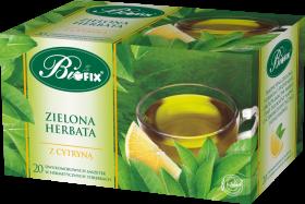 Herbata zielona smakowa w kopertach BiFix, z cytryną, 20 sztuk x 2g