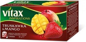 Herbata owocowa w torebkch Vitax Inspirations, truskawka i mango, 20 sztuk x 2g