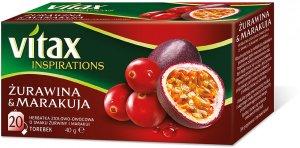 Herbata owocowa w torebkach Vitax Inspirations, żurawina i marakuja, 20 sztuk x 2g