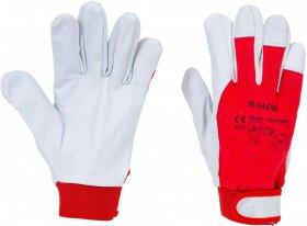 Rękawice wzmacniane M-Glove Technik, rozmiar 9, biało-czerwony