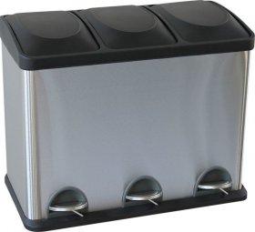 Kosz pedałowy do segregacji odpadów Merida, trzykomorowy, 3x15l, srebrno-czarny