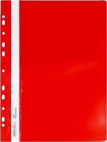 Skoroszyt plastikowy oczkowy Ofix Standard, twardy, A4, PVC, do 200 kartek, czerwony