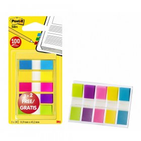 Zakładki indeksujące Post-it, PP, 12x43mm, 5x20 karteczek, mix kolorów