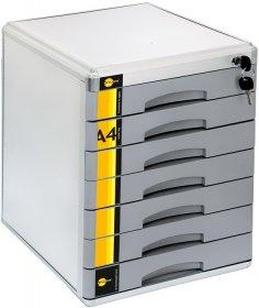 Pojemnik Yellow One, z 7 szufladami na klucz, do dokumentów, A4, srebrny