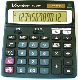 Kalkulator biurowy Vector CD-2460, 12 cyfr, czarny