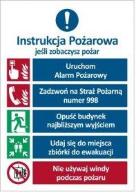 Tabliczka informacyjna Instrukcja przeciwpożarowa alarmowa z windą IN001, ISO7010, 35x25 cm