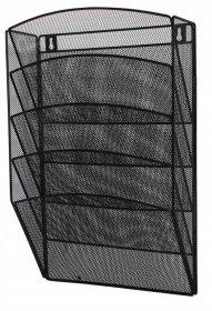 Półka naścienna D.Rect, 5 kieszeni, A4, metal, czarny