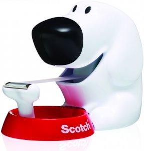 Podajnik do taśmy klejącej Scotch, w kształcie pieska (C31-DOG)+ taśma Scotch Magic 19mmx8.89m, biało-czerwony