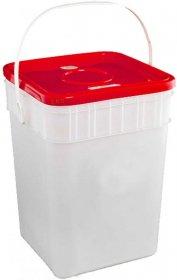 Pojemnik na zużyte baterie, 15l, biało-czerwony