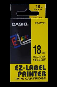 Taśma do drukarek etykiet Casio XR-18YW1, 18mm x 8m, nadruk czarny, taśma żółta
