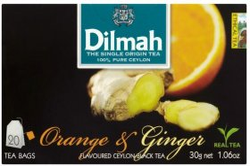 Herbata czarna aromatyzowana w torebkach Dilmah, Pomarańcza i Imbir, 20 sztuk x 1.5g