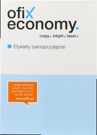 Etykiety uniwersalne Ofix Economy, 52.5x21.2mm, 100 arkuszy, biały