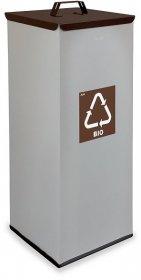 Kosz do segregacji odpadów bio EKO SQUARE, 60L, srebrno-brązowy