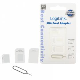 Adapter karty Dual Sim LogiLink, 3 sztuki, biały