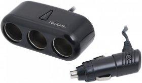 Ładowarka samochodowa LogiLink, 3 gniazda, 1 x USB, czarny