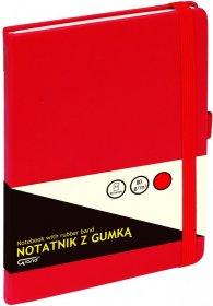 Notatnik w kratkę Grand, z gumką, A5, twarda oprawa, 80 kartek, czerwony