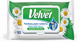Papier toaletowy Velvet Camomile & Aloe Vera, nawilżany, 42 sztuki