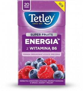 Herbata funkcjonalna w torebkach Tetley Super Fruits Energia z wit.B6, Jagoda i Malina, 20 sztuk