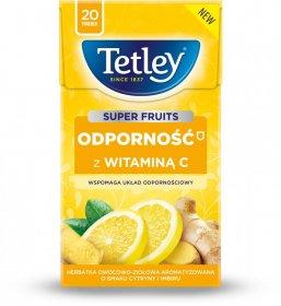 Herbata funkcjonalna w torebkach Tetley Super Fruits Odporność z wit.C, cytryna i imbir, 20 sztuk