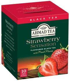 Herbata czarna aromatyzowana w kopertach Ahmad Tea Strawberry Sensation, malina, 10 sztuk x 2g