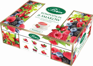 Zestaw herbat w kopertach Bifix, Kompozycja 6 herbat owocowych, 6 smaków, 60 sztuk x 2g