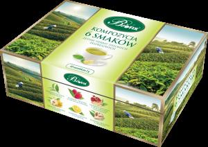Zestaw herbat w kopertach Bifix, Kompozycja 6 herbat zielonych, 6 smaków, 60 sztuk x 2g