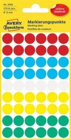 Etykiety Avery Zweckform, okrągłe, średnica 12mm, 270 sztuk, mix kolorów