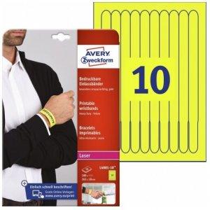 Identyfikator Avery Zweckform, opaska identyfikacyjna na nadgarstki do zadruku, A4, 265 x 18 mm, 10 arkuszy, żółty