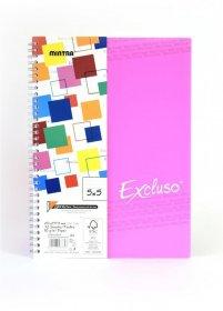 Kołonotatnik Mintra Excluso Double Wire, A4, w linie, 72 kartki, różowy