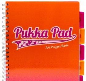 Kołonotatnik Pukka Pad Fusion Project Book, A4, w kratkę, 200 kartek, pomarańczowy