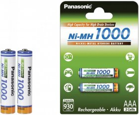 Akumulator Panasonic High Capacity, AAA, 1000mAh, 2 sztuki