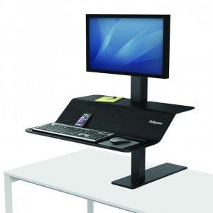 Stanowisko do pracy Fellowes Sit-Stand Lotus™ VE, na jeden monitor, czarny