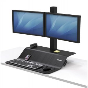 Stanowisko do pracy Fellowes Sit-Stand Lotus™ VE, na dwa monitory, czarny