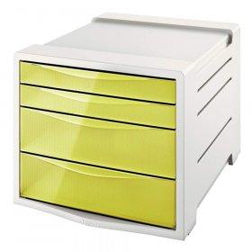 Pojemnik Esselte Colour'Ice, z 4 szufladami, do dokumentów, A4, żółty