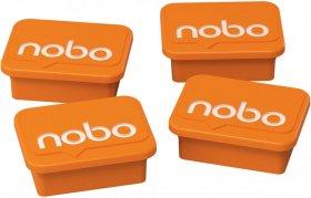 Magnesy Nobo, do tablic suchościeralnych, 4 sztuki, pomarańczowy