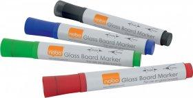 Marker do tablic szklanych Nobo, okrągła, 4 sztuki, mix kolorów